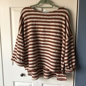 She & Sky orange and white striped sweater top, M